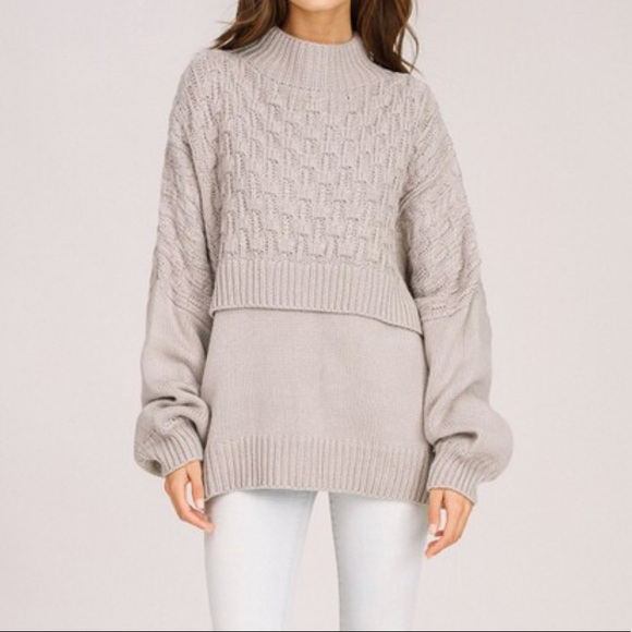 20% off THE EFFLORESSENCE Sweaters - Oversized gray knit sweater ...