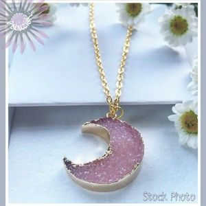 Jewelry - Crescent Moon Pink Druzy Pendant Necklace