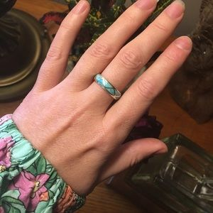 Jewelry - Turquoise and Sterling silver Inlay ring size 6.5