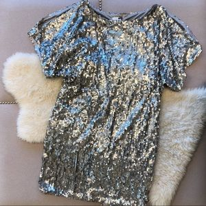 Silver Sequin Cut-Out Dress