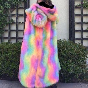Jackets & Blazers - Rainbow fur coat burning man rave festival duster