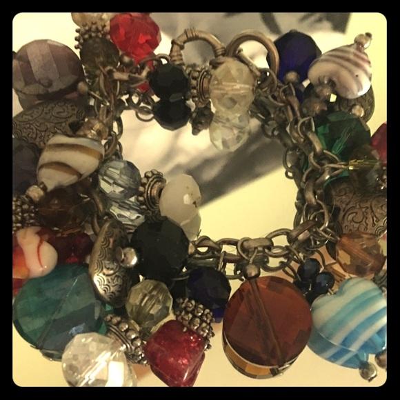 Jewelry - Stunning Glass Crystal & Heart Charm Bracelet