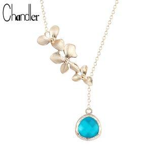 18K Gold Orchid Flower Blue Crystal Drop Necklace