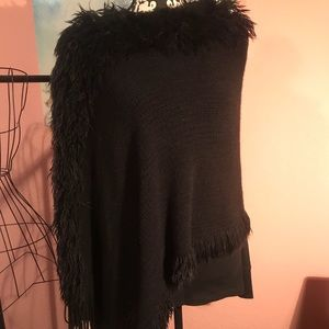 Sweaters - Fur trimmed Poncho