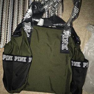 fca793489f5de2 PINK Victoria's Secret Bags - NIP VS PINK VARSITY MINI DUFFLE OLIVE BLACK