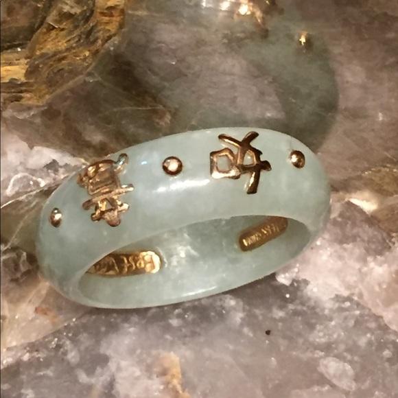 Jewelry 14k Yellow Gold Green Jade Ring W Chinese Symbol Poshmark