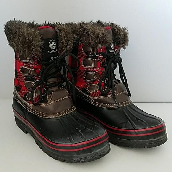 Tamarack Black Red Plaid Snow Boots