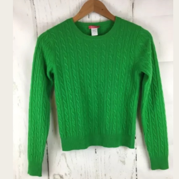 Definite View Sweaters Kelly Green Cable Knit Sweater 100 Cashmere