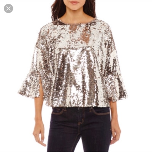 c2af0b409c2 jcpenney Tops - Bold Elements Sequin Bell Sleeve Top