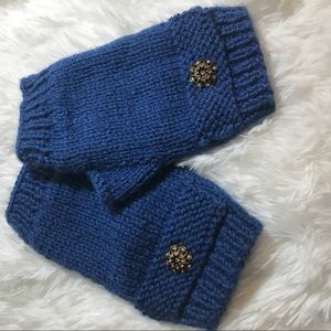 Embellished Crochet blue fingerless mittens/gloves