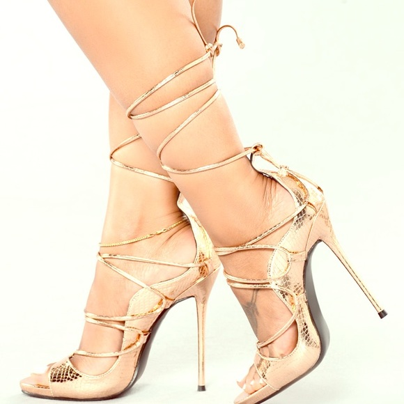 ac790259a25 Hello Again Lace Up Heels - Rose Gold NWT
