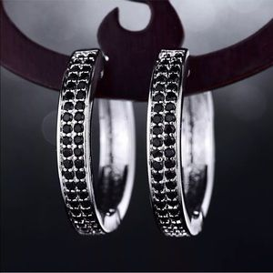 Jewelry - 🎉SALE🎉18k white gold and black hoop earrings