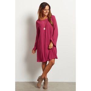Pink Blush Maternity Chiffon Bell Sleeve Dress