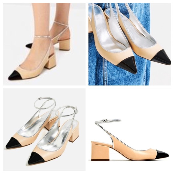 52fa304009d ZARA⚫️SLINGBACK SHOE PUMPS POINTED NEW free GIFT