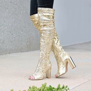 Shoes - Gold Over The Knee Chunky Heel Boots |