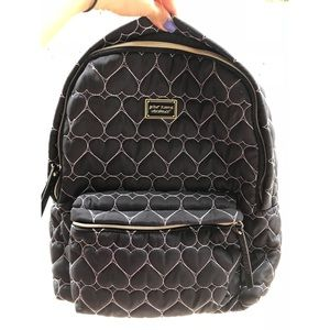 Betsy Johnson backpack! Black with cute hearts