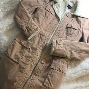 American eagle pink corduroy, fleece-lined coat