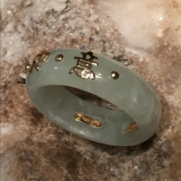 61 Off Jewelry 14k Yellow Gold Jade W Chinese Symbol Ring Poshmark