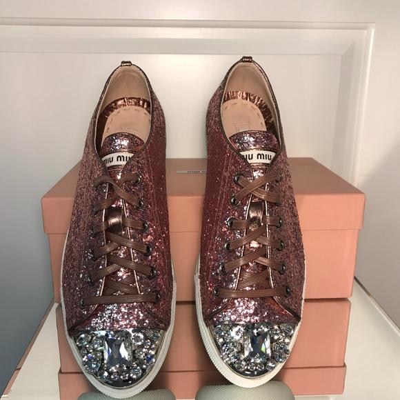 11cecfe1d9941 NWT Miu Miu Pink Glitter Bejeweled Sneakers