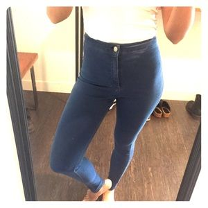 Denim - High waisted top shop Joni jeans light blue skinny