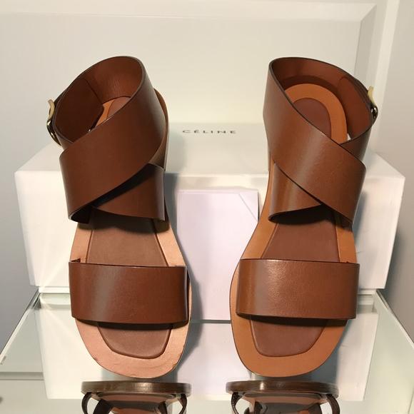 b9e0055acd20d6 NWT Celine Bam Bam Leather Flat Sandals - Caramel