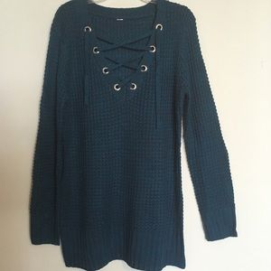 Sweaters - NWT Lace Up Oversized Slouchy Long Tunic Sweater
