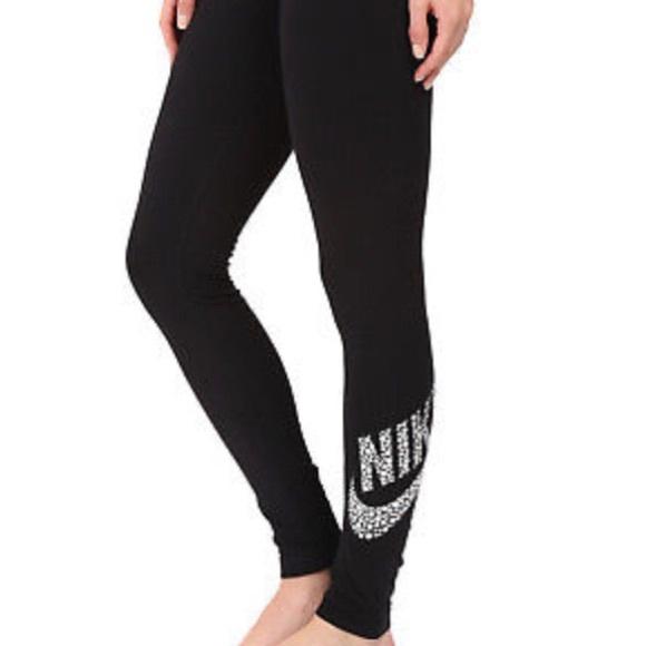 41f6a7b5f5e3f5 Nike Pants | Womens Legasee Metallic Silver Leggings | Poshmark