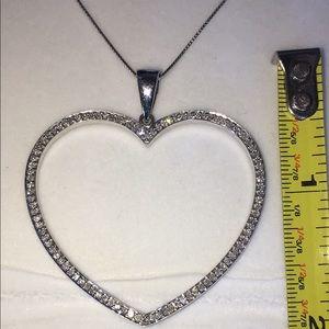 Jewelry - 14K Gold XXL Genuine 1CT Diamond Heart Necklace