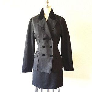 Dresses & Skirts - 2 Piece Black Velvet Trim Suit Jacket & Skirt!