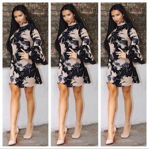 Dresses & Skirts - Black & Nude Floral Dress NWT