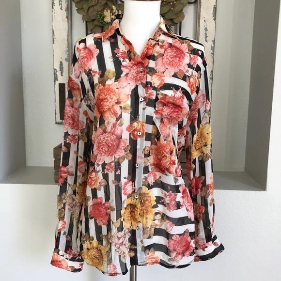 e7cf805ff Zara Basic Floral & Stripe Sheer Button Down Top. M_5a32d332f092824ef5032d07