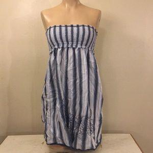 Name Brand Gypsy Boho Blue Strapless Maxi Dress