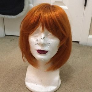 Accessories - Orange short wig leeloo bob hair bangs 5th element