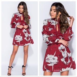Dresses & Skirts - Wine Floral Dress NWT