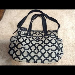 Coach Black and Gray Jacquered Babybag