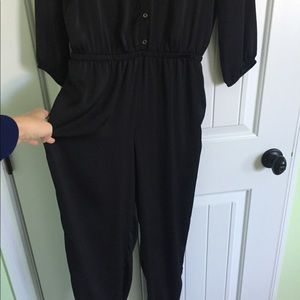 Dresses & Skirts - Black silky pants Romper