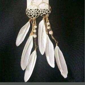 Other - White dream catcher earrings