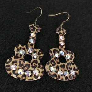 Jewelry - 3/$20 Leopard Guitar Earrings w/ Accents