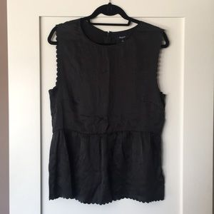 Madewell silk peplum charcoal blouse NWOT