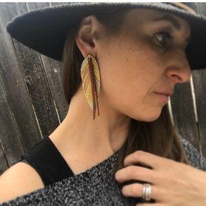 Jewelry - Leather Feather Earrings/boho/Hippie/Festival
