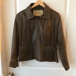 Jackets & Blazers - Brown distressed leather bomber jacket size large