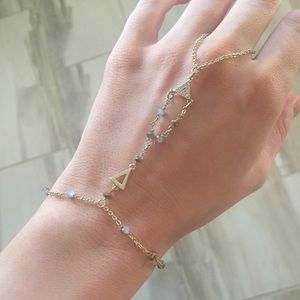 Express gold beaded hand chain