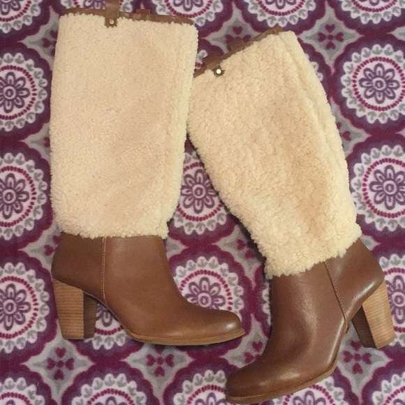 ad64f5ffe2f Ugg Ava exposed fur heeled leather boot 9.5 wool NWT