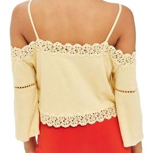 Topshop Tops - TOPSHOP Yellow Off The Shoulder Lace Top