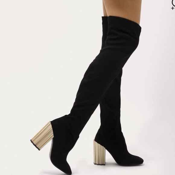 df0fa782534 Black suede thigh high over knee boots golden heel. Boutique. Public Desire