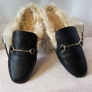 AND Rebe Slip-on Mule Loafers WTH faux fur 7.5