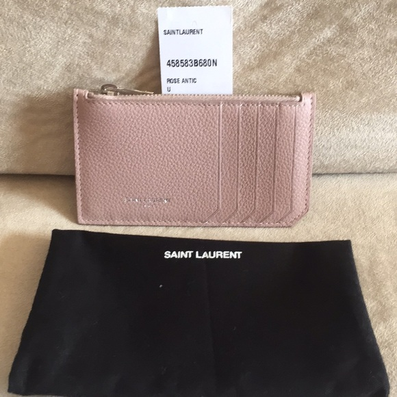 finest selection 69adf f2c8f Saint Laurent Fragments Card Case in Rose Antic Boutique