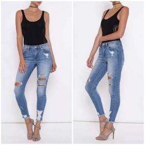 Denim - Cropped Distressed Faded Stretch Skinny Jeans