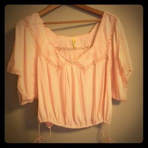 Free people cropped pink blouse size small