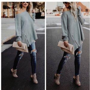 Sweaters - New slate blue zipper dolman sweater